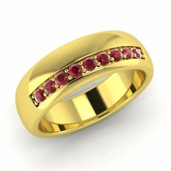 6 Mm Classic Menand039s Wedding Band / Ring With 0.42 Ct Ruby In Solid Yellow Gold