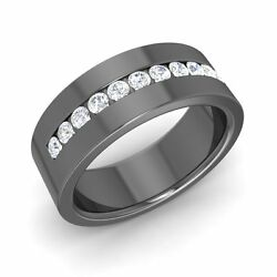 Certified 6 Mm 14k Black Gold Men's Wedding Ring / Band With Si Diamond