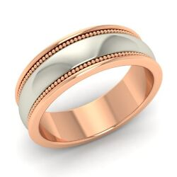 Two Tone Plain And Miligrain Design Menand039s Wedding Band / Ring In 18k Rose Gold