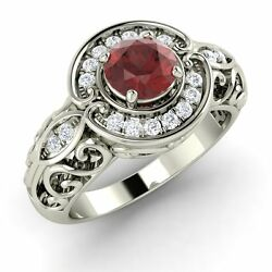 14k White Gold Antique Look Engagement Ring Certified Garnet And Si/gh Diamond