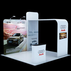 10ft Custom Tension Fabric Trade Show Displays Booth System Tv Bracket Podiums