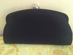 VTG PECK & PECK BLACK CLUTCH EVENING BAG WITH STRAP GOLD AND RHINESTONE CLASP