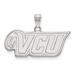 Virginia Commonwealth Rams School Letters Logo Pendant In 14k And 10k White Gold