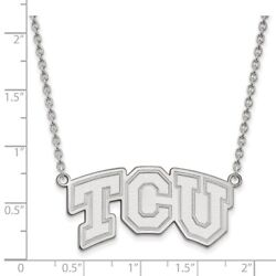 Texas Christian Tcu Horned Frogs School Letters Pendant Necklace In White Gold