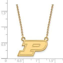 Purdue Boilermakers School Letter Logo Pendant Necklace In 14k And 10k Yellow Gold