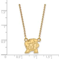 University Of Maryland Terrapins Mascot Pendant Necklace In 14k Yellow Gold