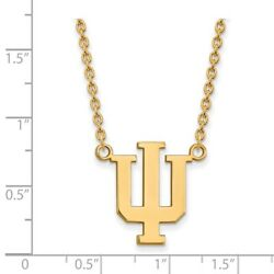 Indiana University Hoosiers School Letters Logo Pendant Necklace In Yellow Gold