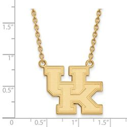 Kentucky Wildcats School Letters Logo Pendant Necklace In 14k And 10k Yellow Gold