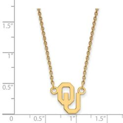 Oklahoma Sooners Ou School Letters Logo Pendant Necklace In 14k Yellow Gold