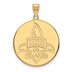 New Orleans Privateers School Letters Logo Disc Pendant In 14k And 10k Yellow Gold
