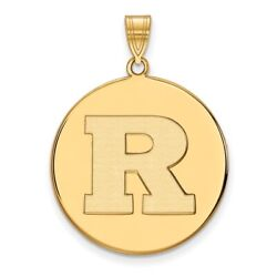 Rutgers Scarlet Knights School Letter Logo Disc Pendant In 14k And 10k Yellow Gold