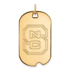 North Carolina State Wolfpack School Letters Dog Tag Pendant In 14k Yellow Gold