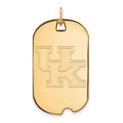 Kentucky Wildcats School Letters Logo Dog Tag Pendant In 14k And 10k Yellow Gold