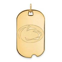 Penn State University Nittany Lions Mascot Logo Dog Tag Pendant In Yellow Gold