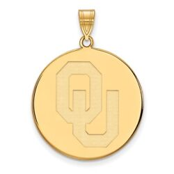 University Of Oklahoma Sooners Ou School Letters Disc Pendant In 14k Yellow Gold