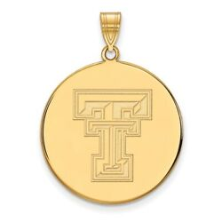 Texas Tech Red Raiders School Letters Logo Disc Pendant In 14k And 10k Yellow Gold