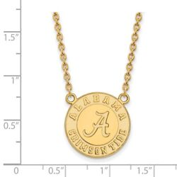 Alabama Crimson Tide School Logo Disc Pendant Necklace In 14k And 10k Yellow Gold