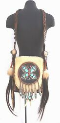 RARE Native American Hopi Leather Turquoise Sterling Silver Elkhorn Purse Bag