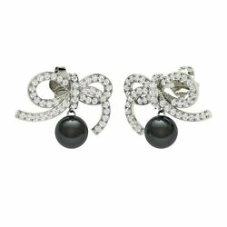 2.13 Ctw Certified Natural Black Pearl Ribbon Bow Earrings 10k Solid White Gold