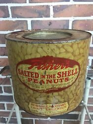 Vintage Large Fisher's Salted Peanuts - Store Point Of Sale Advertising Tin Can
