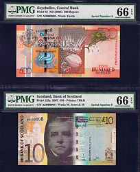 Scotland Andpound10 And Seychelles 50 Rupees Matching Low Sr Ad 000008 Gem Unc Pmg 66 Epq