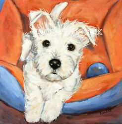 West Highland Terrier WESTIE MATTED SQUARE PRINT Painting LITTLE PUPPY  RANDALL