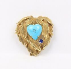 Vintage 18K Gold Natural Turquoise and Sapphire Heart Brooch Pin