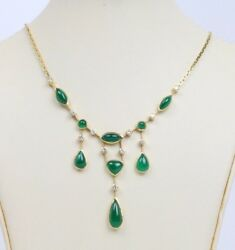 Vintage Certified Cabochon 5 Carats Emerald Diamond And 18k Gold Dangle Drop Nec