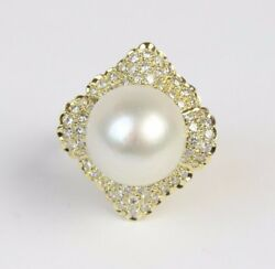 Vintage 14.5 Mm South Sea Pearl And 1.5 Carats Diamond Cluster 18k Gold Ring