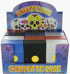 12 Pack 100' Push-to-open Plastic Cigarette Case W/metal Finish Blue Black Red