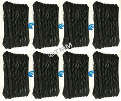 8 Black Double Braided 1/2 X 15' Ft Boat Marine Hq Dock Lines Mooring Ropes