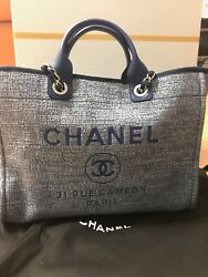 NEW AUTHENTIC CHANEL DEAUVILLE LARGE SHOPPING 30CM BLUE! JC