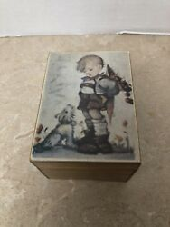 Vintage Wooden Music Box Made In Japan, Boy And Dog Working Musical Movement