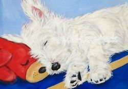 West Highland Terrier WESTIE MATTED PRINT Painting NOSE TO NOSE Dog Art RANDALL