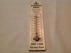 State Refrigeration Co. High St. Vintage Wood Thermometer. Harrisburg, Pa.