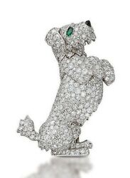 4.70ct NATURAL DIAMOND 14K SOLID WHITE GOLD EMERALD POODLE BROOCH FOR DOG LOVERS