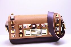 AUTH FEND MULTICOLORED BAGUETTE CALF HAIR AND LEATHER CLUTCH SHOULDER BAG $3500