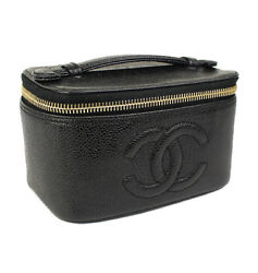 CHANEL COCO Logo Vanity Cosmetic Bag Caviar Skin Leather Black #41741