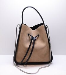 $950 3.1 PHILLIP LIM SOLEIL BEIGE AND BLACK SUEDE LEATHER SMALL CHAIN BUCKET BAG