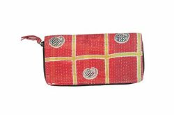 KANTHA WORK INDIAN EMBROIDERED ANTIQUE PURSE HANDMADE CLUTCH FOR WOMEN