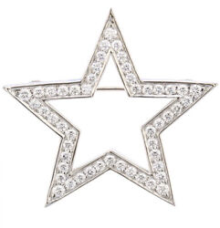 1.50ct Natural Round Diamond 14k Solid White Gold Star Brooch Pin