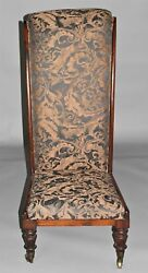 19th Century Upholstered Rosewood Prayer Chair / Prie Dieu