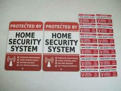 2 Home Security Alarm System Yard Signs And 12 Window Stickers - Stock 703