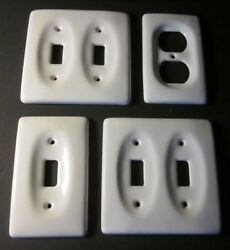 Vintage Lot of 4 White Porcelain Wall Light Switch & Outlets Cover Plate