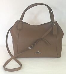 Coach Tan Pebble Leather Edie 28 Small Tote with Crossbody Strap