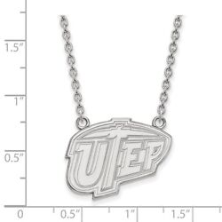 University Texas El Paso Miners School Letters Pendant Necklace In White Gold