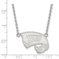 Western Kentucky Hilltoppers School Letters Pendant Necklace In 14k White Gold