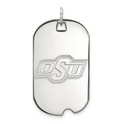 Oklahoma State Cowboys Osu School Letters Dog Tag Pendant 14k And 10k White Gold