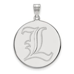 Louisville Cardinals School Letter Logo Disc Pendant In 14k And 10k White Gold