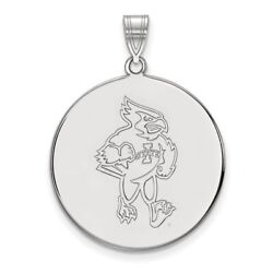 Iowa State University Cyclones Cy The Cardinal Disc Pendant In 14k White Gold